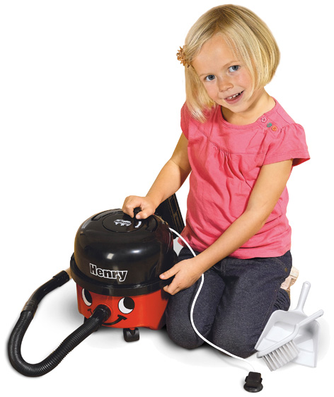 Girl playing with her Henry Vacuum Cleaner