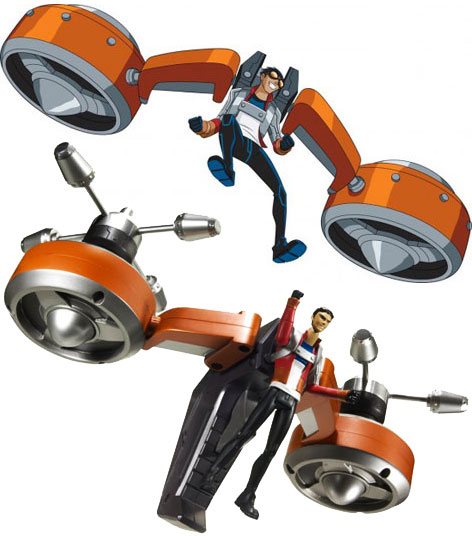A toy version of the Generator Rex Air Attack Boogie Pack produced by Mattel