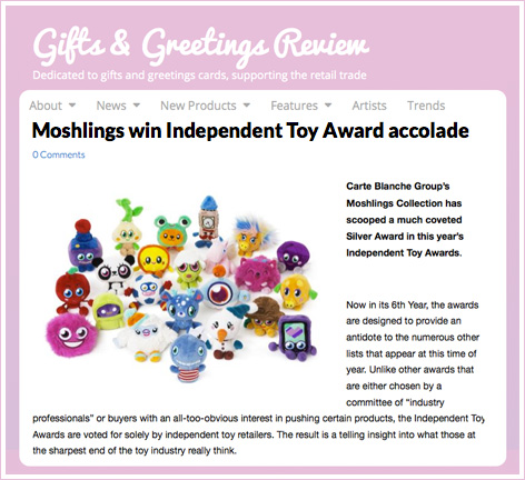 Gifts and Greetings Review of Carte Blanche's Moshling win