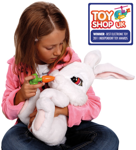 Girl Feeding her Milky The Bunny Emotion Pet