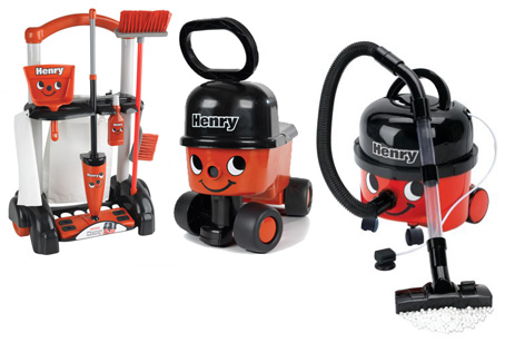 A Bumper Henry Prize from Casdon consisting of a Henry Vacuum, a Henry Cleaning Trolley and a Henry Sit n Ride