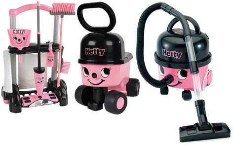 A Bumper Hetty Prize consisting of a Hetty Vacuum, a Hetty Cleaning Trolley and a Hetty Sit n Ride