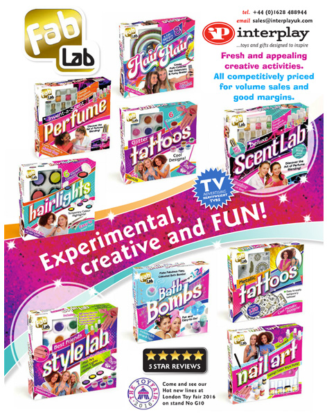 Trade advert for Interplay's Fab Lab toys