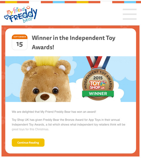 My Friend Freddy Bear proudly displays his winning medal