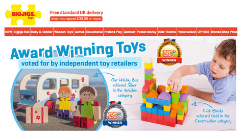 Bigjigs take over their homepage with news of their award wins