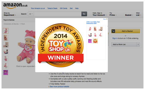 VTech use their gold medal on the winning product's Amazon page