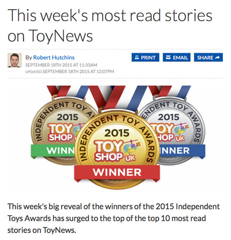 The Independent Toy Awards become the top read story on ToyNews