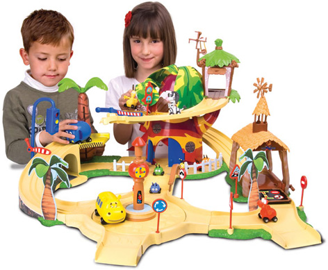 Children playing with the Jungle Junction Playset