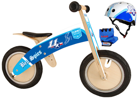 The Ben Spies balance bike and helmet