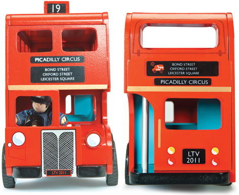 The front and back of the London Bus from Budkins and Le Toy Van