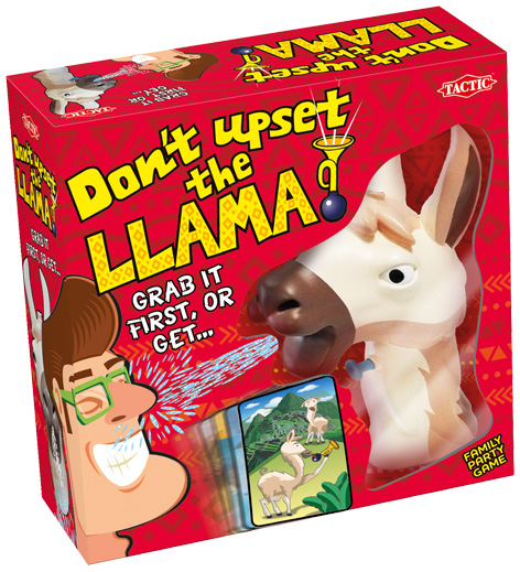 Girls playing Don't Upset The Llama Packaging