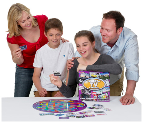 Family playing with their Logo: Best of TV and Movies board game