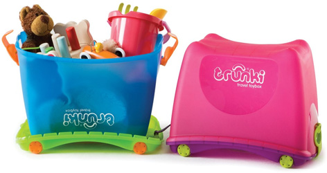 The Blue and Pink Travel Toyboxes from Trunki
