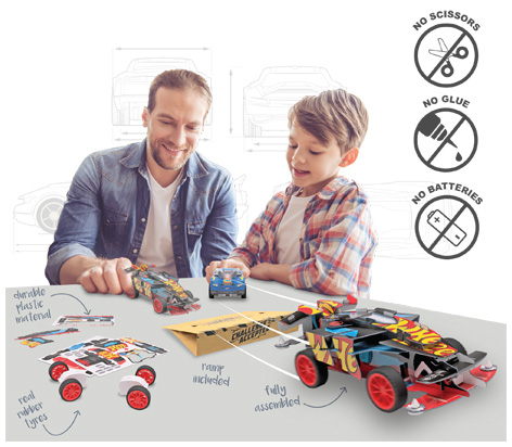 Father and son playing with Maker Kitz Cars