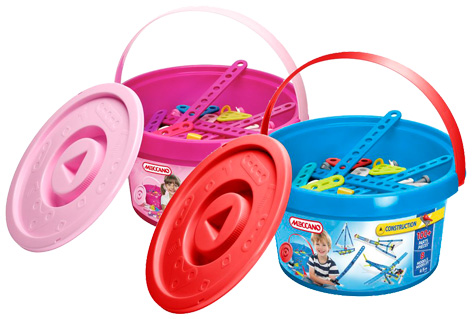 Pink and Blue Meccano Construction Buckets