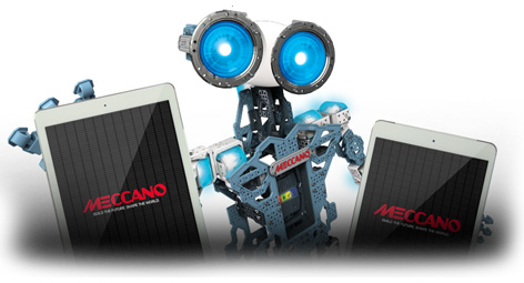 The Meccano Meccanoid holding tablet computers