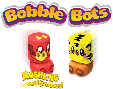 The Official Moshi Monster Bobble Bots Logo With 2 Cute Bobble Bots