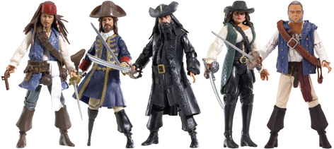 Five of the stunning toy figures produced by Flair to tie in with the Pirates of the Caribbean 4: On Stranger Tides film