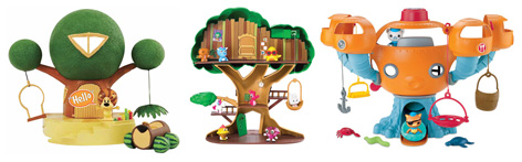 Comparison of the Raa Raa The Noisy Lion Playset with the Moshling Treehouse and the Octonauts Octopod.