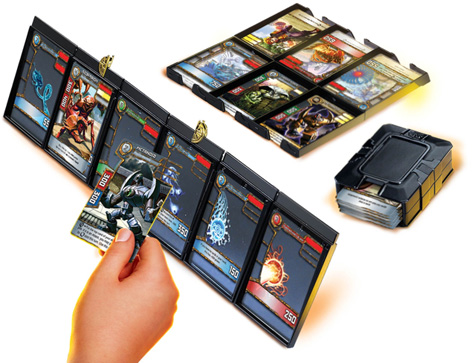 A boy playing the Redakai trading card game