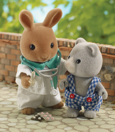 The Sylvanian Families Paramedic Thomas Nightingale, with patient Owen Bearbury