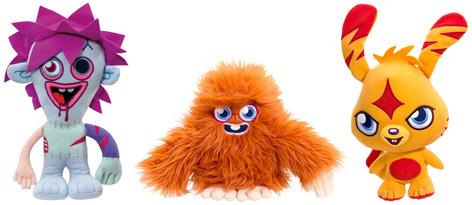 Zommer, Furi, and Katsuma Talking Moshi Monsters Soft Toys from Vivid Imaginations
