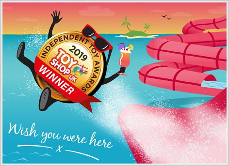 Mr. Independent Toy Awards enjoying a water slide