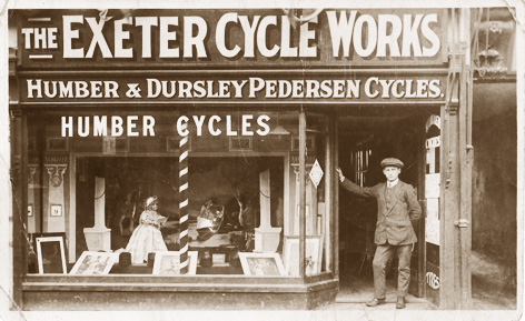 The original Exeter Cycle Works shop circa 1909