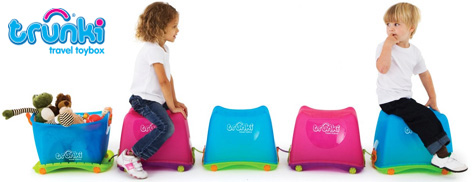 Boy and Girl with their Blue and Pink Trunki Travel Toyboxes