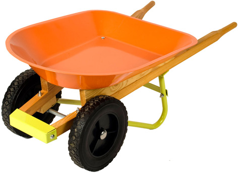 A toy wheelbarrow from Twigz Toys