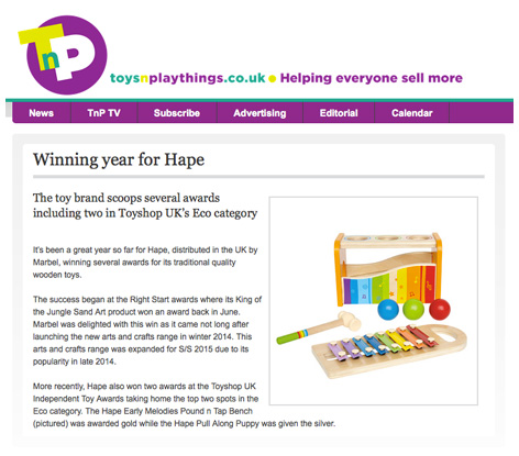 A winning year for Hape