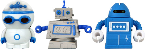 Three of the original Zibits robots