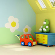 A child's bright and colourful bedroom