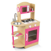 A Beautiful Pink Wooden Toy Kitchen from Kidkraft