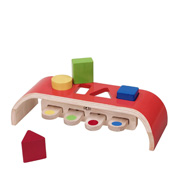 A Wooden, Geometric Shape Sorter for Young Children