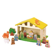 A Wooden Nativity Toy Scene