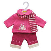 Pink Jacket, Trousers and Scarf Set for Baby Dolls