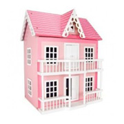 A Pink Wooden Dolls House from Wilton Bradley