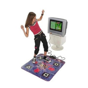 A Young Girl Using an Electronic Dance Mat Designed for Kids
