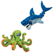Shark and Octopus from the Bloco Marine Creature Toy Set
